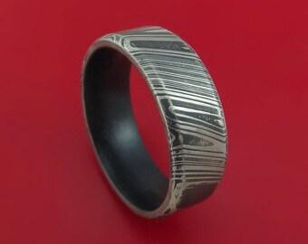 Kuro Damascus Steel Ring with Graphite Black Cerakote Sleeve Custom Made Band