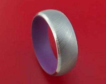 Damascus Steel and Wild Purple Cerakote Ring Custom Made Band