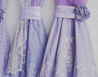 Lavender bridesmaids dresses, light purple dresses, lace dress, lilac dresses, custom made, handmade, upcycled, vintage, wedding, custom