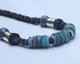 Elegant long necklace in gray and turquoise, polymer clay beads, pompoms beads and more