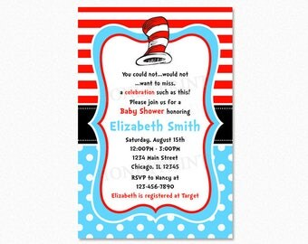 Dr Seuss Baby Shower Invitation, Cat in the Hat Baby Shower Invitation, Red, Blue, Polka Dots, Printable and Printed