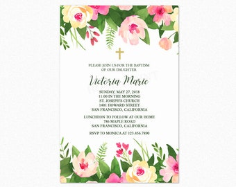 Tropical Botanical Baptism Invitation, Girl Baptism Christening, Watercolor Flowers, Personalized, Printable or Printed