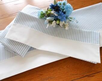 NOS Blue Pin Stripe Twin Size Vinatge Sheet Set
