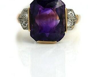 Antique Amethyst Engagement Ring 5.00ctw 1940 Two Tone Vintage Amethyst Cocktail Engagement Statement Purple Gemstone Ring February Birthday