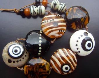October Glow - Handmade Lampwork Bead Set (15) by Anne Schelling, SRA