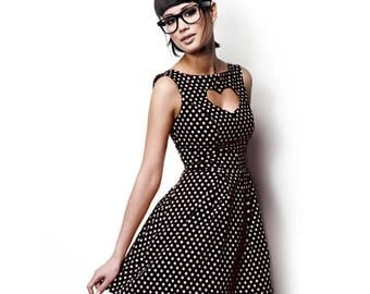Black heart with white dots dress