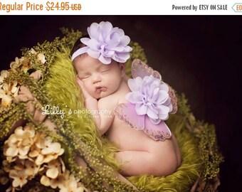 ON SALE Lavender Newborn Wings, wings and headband, glitter wings, baby fairy wings, baby butterfly, newborn photo prop
