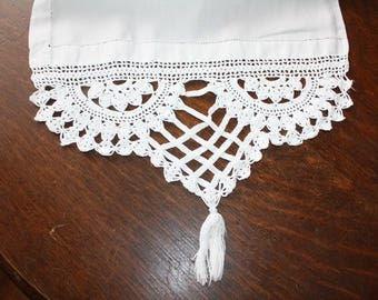 Long Linen Table Runner Dresser Scarf Linen Antique Crocheted Ends 15 x 80