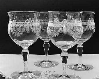 2 Elegant Glass Etched Wine Glasses Crystal Water Goblets Crystal Wine Goblets Optic Glass Etched Bows & Floral Swag