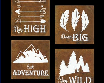 PRINT or GICLEE Reproduction -- Inspiration Quotes -- Woodland Theme -- Outdoor Nature Theme Print Set by Britt Hallowell