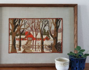 Winter Barn Art, Vintage Crewel Yarn Picture