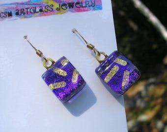 Dichroic Earrings Deep Grape Purple with Gold 14K Earwires Dichroic Kiln Fused Glass Small Dangles Dark Purple Jewellry Fused Glass Boho