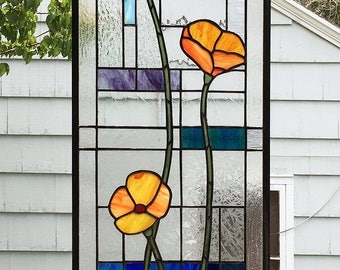 "California Poppies Geometric  13.75"" wide x  42.25"" tall-- Stained Glass Window Panel"