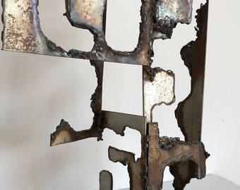Vintage 60s 70s Torch Cut Steel Brutalist Sculpture Mid Century Modern Retro Art Sixties Seventies