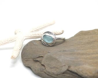 Sterling Sea Glass Ring - Lake Erie Beach Glass - Sterling Ring - Beach Glass Jewelry - FREE shipping inside the United States