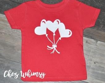 Valentine's Day Shirt, Girls Red Shirt, Heart Balloons, Toddler Shirt, Red Short Sleeve Shirt
