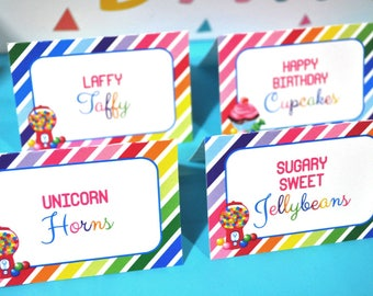 Candy Labels, Food Tent Cards, Buffet Labels, Candy Sweet Shoppe, 1st Birthday, Rainbow Party, Candyland Birthday, Sweet Shop - Set of 12