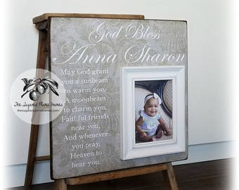 Baptism Gift, Goddaughter Gift, Godson Gift, Baby Girl Gift, Baby Boy Gift, First Communion, Irish Blessing, 16x16 The Sugared Plums Frames