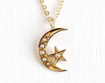 Antique 14k Rosy Yellow Gold Crescent Moon & Star Pearl Pendant Necklace - Vintage Early 1900s Art Nouveau Edwardian Fine Conversion Jewelry