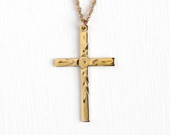 Vintage 12k Yellow Gold Filled Cross Pendant Necklace - Retro 1960s Religious Faith Engraved Flower Charm on 18 Inch 12K GF Chain Jewelry