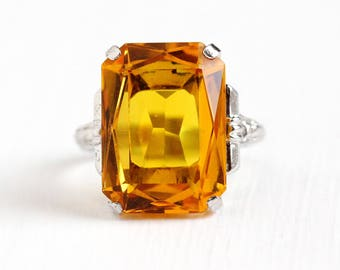 Vintage Sterling Silver Simulated Citrine Statement Ring - 1940s Adjustable Large Orange Yellow Glass Stone Cocktail Signed Uncas Jewelry