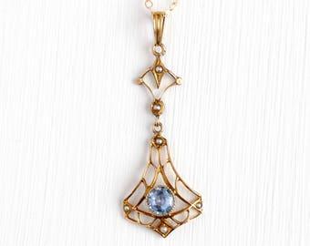 Simulated Sapphire Lavalier - Antique 10k Yellow Gold Seed Pearl Pendant Necklace - Vintage Art Nouveau Edwardian 1900s Blue Gem Jewelry