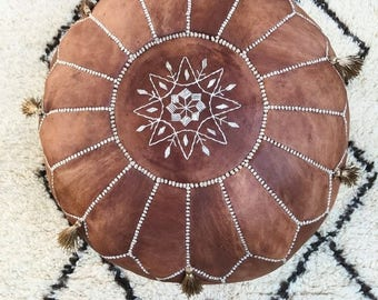 SUMMER 10% OFF // SPRING Sale 30 Percent Off>> Tan Brown Moroccan Leather Pouf with Tassels & Pompoms >> for Home gifts, wedding gifts, anni