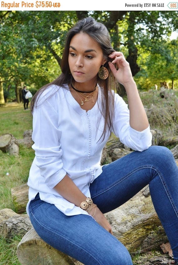 20% OFF Winter Sale// Magrib Style White Shirt -perfect for casualwear, loungewear, as birthday, honeymoon gifts for her, resortwear, christ