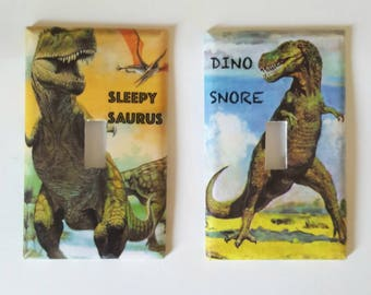 Dinosaur lightswitch cover - Dino themed bedroom decor - kids room - nursery