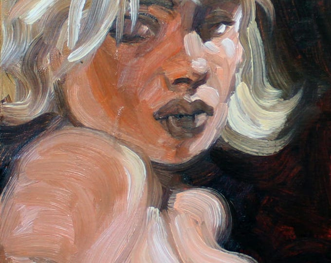 Suicide Blonde, oil on canvas panel, 9x12 inches by Kenney Mencher
