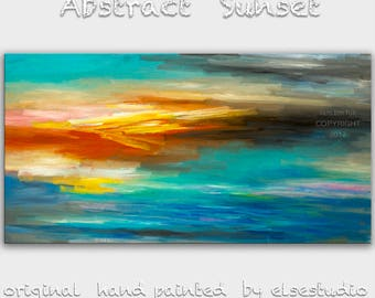 "Sale Original oil Painting Sunset Art Abstract Painting 48"" Canvas  Wall Decor Original Modern Home Deco, Wall Hanging,  by Tim Lam"