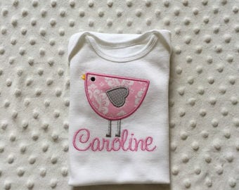 Baby Girl Personalized Bodysuit with Modern bird in pink damask