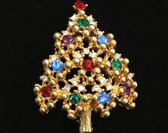 "Vintage Vtg Eisenberg Ice Rhinestone Christmas Tree Pin Brooch- 2 1/8"" H"