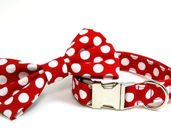 Handmade Dog Collar and Bow Tie Set - Let's Live in the 50's - Custom Made Red and White Polka Dot Dog Collar with bowtie - Collar with Dots