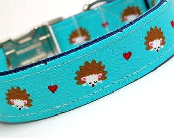 Handmade Dog Collar - Hedge Hogs of Love in Blue - Forest Critters - Forrest Dog Collar - Cute Dog Collar
