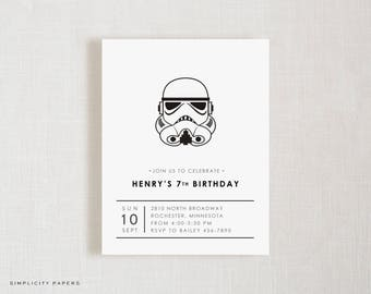 Custom Invitations // Dark Side // Birthday Party Invite // Star Wars