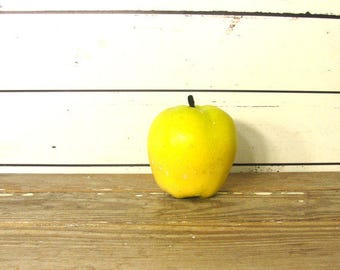 Vintage Chalkware Yellow Apple, Still Life Chalk Ware Faux Fruit, Chippy Golden Delicious Plaster Apple with Paper Stem