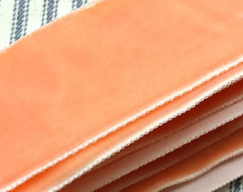 BY THE YARD Vintage Velveteen Binding Trim in Peach, 1 1/2 inches wide for Pillows, Curtains, Clothing
