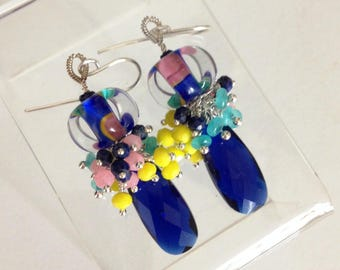 Summer Garden - Ashira Sapphire Blue Quartz Faceted Briolette Aqua, Cobalt Blue & Pink Jade with Hand Blown Boro Beads