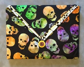 Batik Colorful Skulls glow-in-the-dark Padded Clutch Bag - Perfect Travel case for cosmetics, Kindle, Nook, e-readers