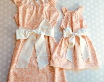 Blush Pink Mother Daughter Matching Dresses - Mommy and Me Dresses - Mommy and Me - Mother Daughter Dresses - Handmade - Matching Dresses