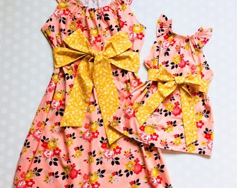 Pink Floral Mother Daughter Matching Dresses - Mommy and Me Dresses - Mommy and Me - Mother Daughter Dresses - Handmade - Matching Dresses