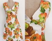 1970's Orange Floral Wrap Dress w/ Large Buttons Size Small Medium by Maeberry Vintage
