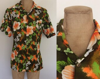 1960's Hawaiian Green & Orange Button Up Men's Vintage Shirt Size XL XXL by Maeberry Vintage