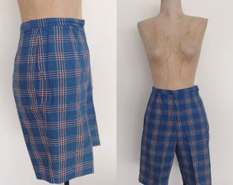 """1960's Blue Plaid High Waisted Wool Shorts Size Small 26"""" Waist by Maeberry Vintage"""
