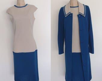 1960's Wool Two Tone Wiggle Dress w/ Matching Jacket Size Medium Large Tall by Maeberry Vintage