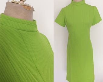 1970's Lime Green Textured Polyester Shift Dress Size Medium by Maeberry Vintage
