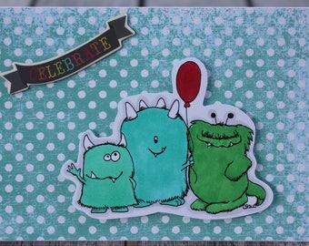 Monster Birthday Card, Boy Birthday Card, Child Birthday Card, Toddler Birthday Card, Stamping Bella Monsters