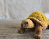Small Vintage Flocked Tortoise Shell Turtle Figurine