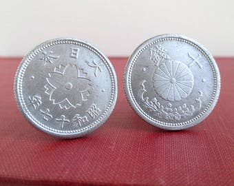 JAPAN Coin Cuff Links - Japanese 10 Sen Coins, Repurposed Vintage Coins